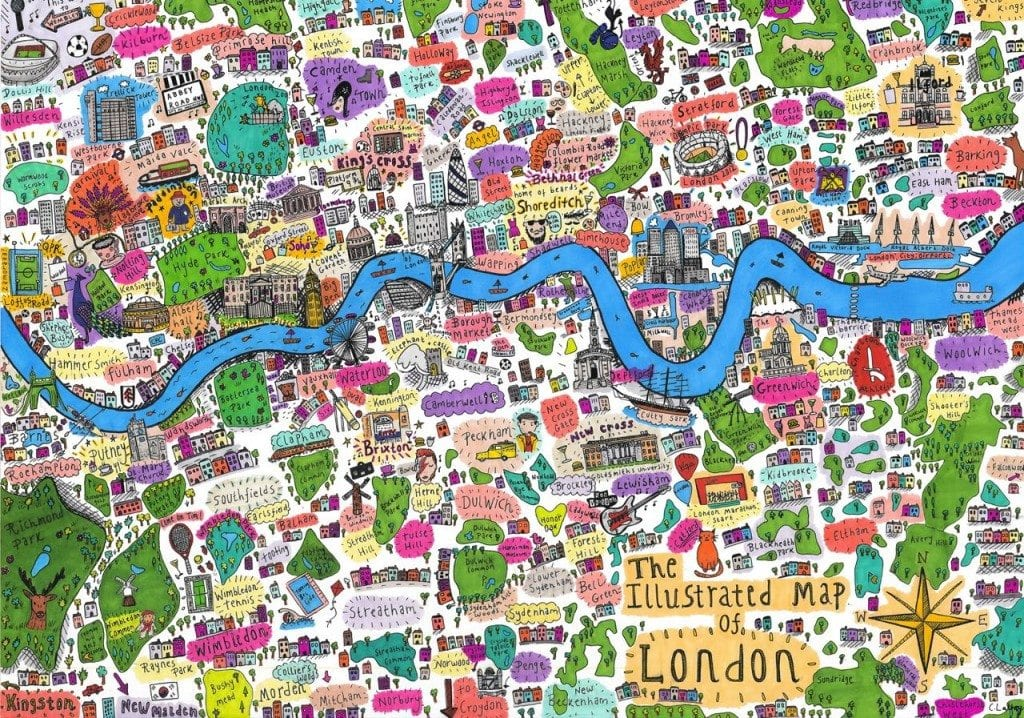 Map Of London And Surrounding Suburbs.Illustrated Map Of London