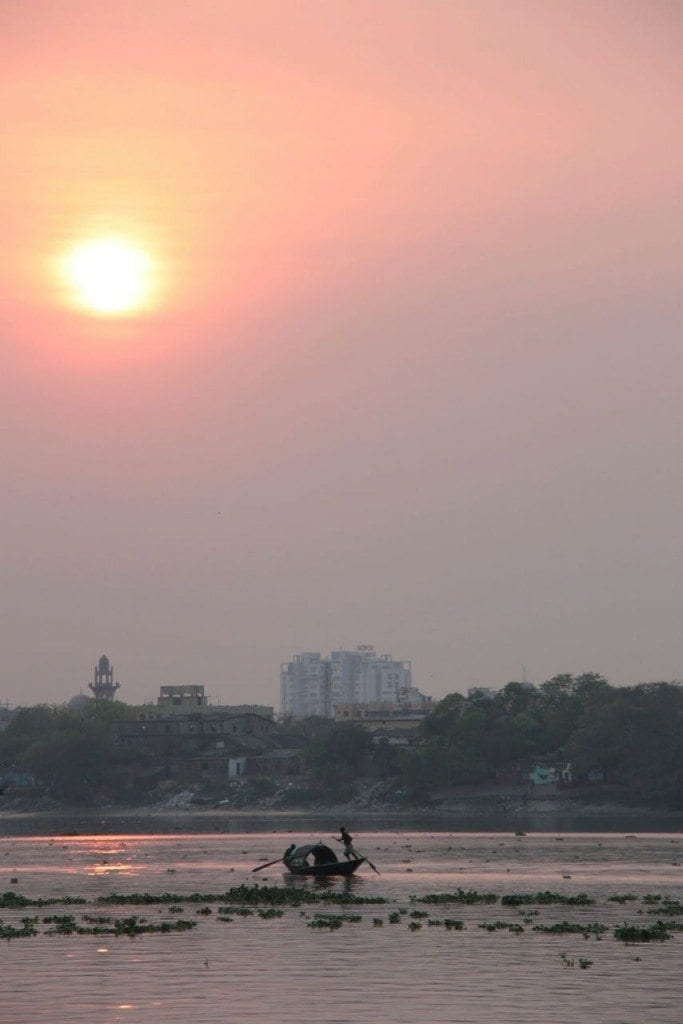 sunset over the Hooghly River