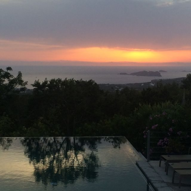 sunset at the villa