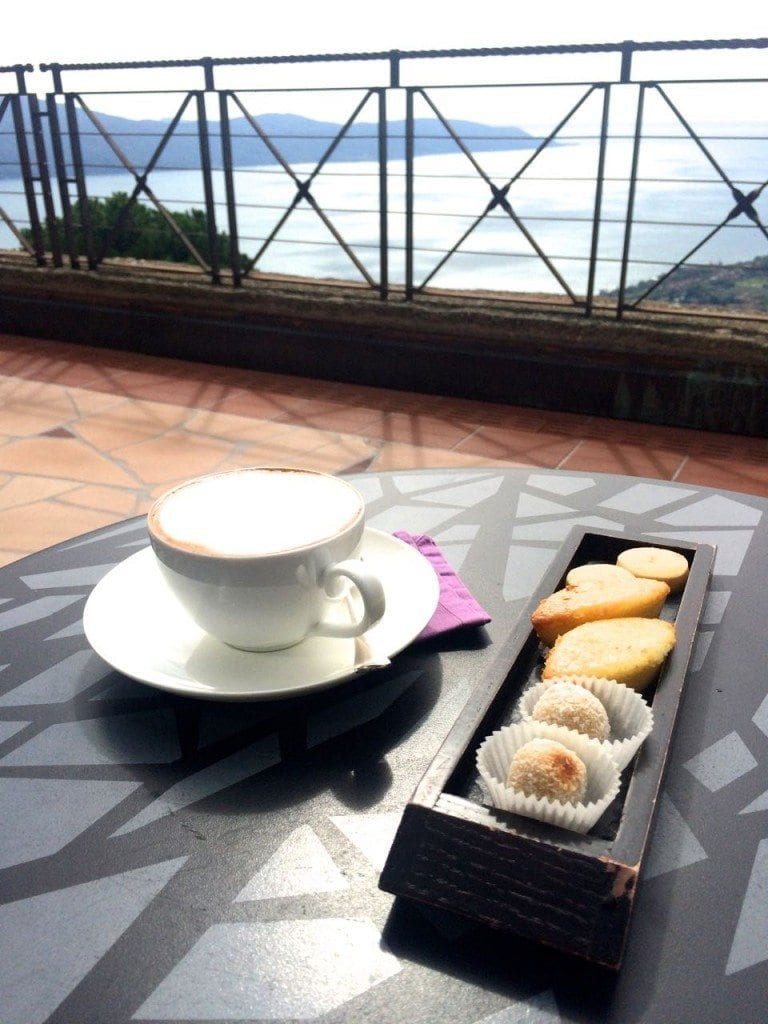 Lefay- coffee on the terrace