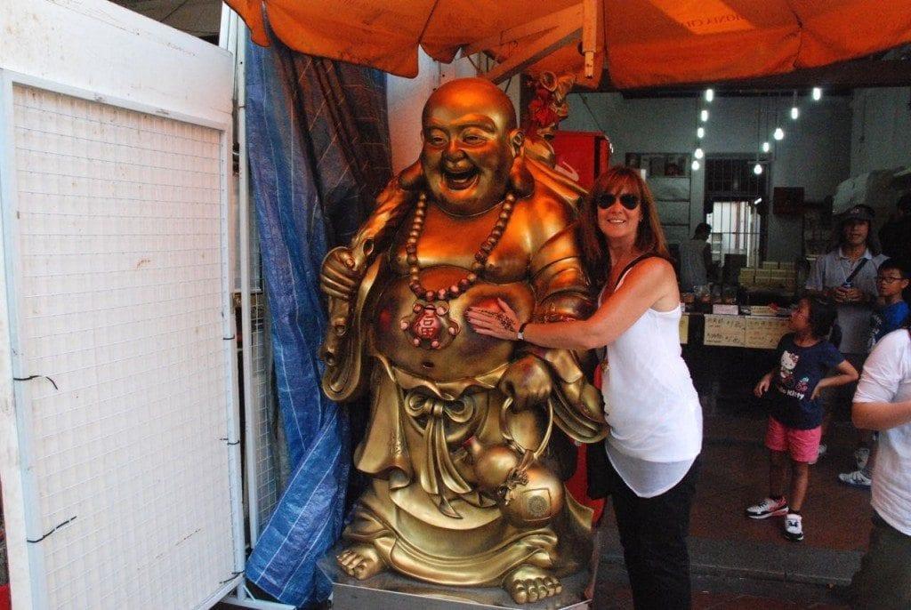 Me rubbing the buddha