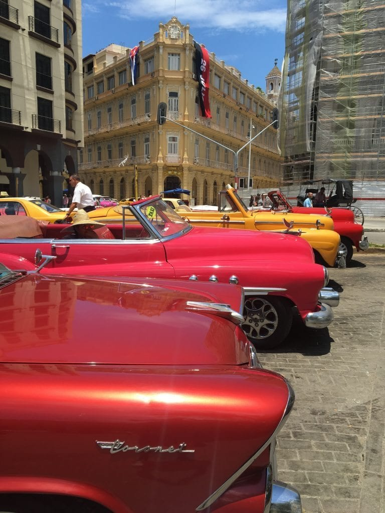 Cuba, red and yellow cars