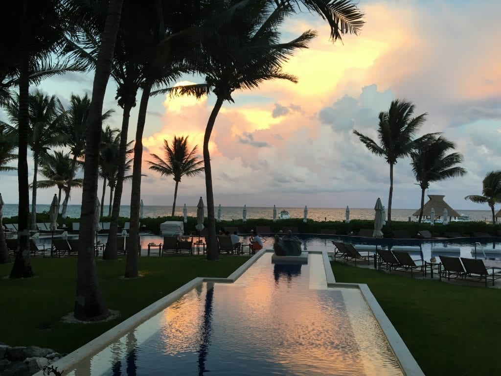 The pool sunset