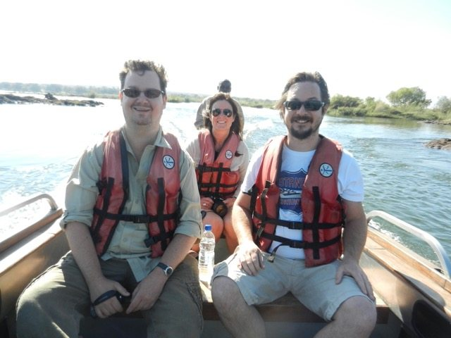 3 of us in a boat to Livingstone Island