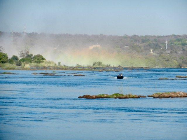 In a boat to Livingston Island, Zambia