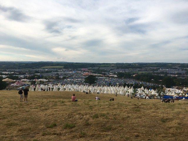 Glastonbury view of tents