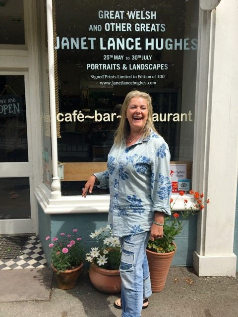 Janet Lance Hughes outside River cafe