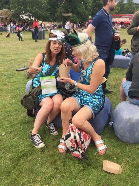 Wilderness Festival: twins with box of wine