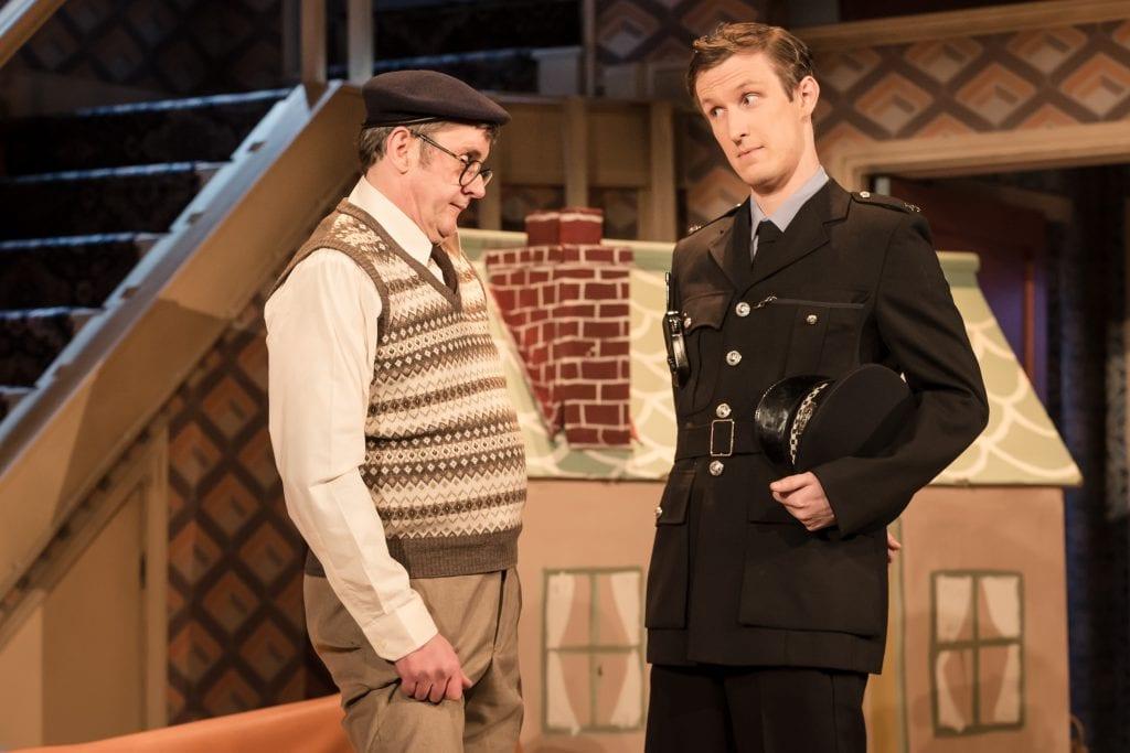 LtoR Joe Pasquale as Frank Spencer & Christ Kiely as Constable in Some Mothers Do 'Av 'Em, credit Scott Rylander