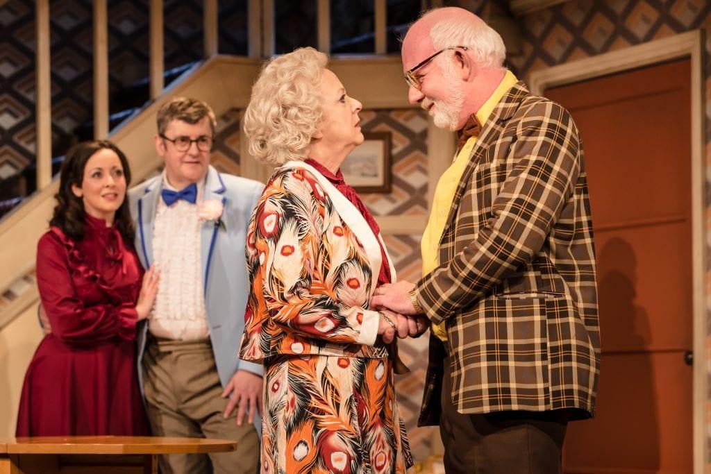Sarah Earnshaw as Betty, Joe Pasquale as Frank Spencer, Susie Blake as Mrs Fisher & Moray Treadwell as Mr Luscombe in Some Mothers Do 'Av 'Em, credit Scott Rylander
