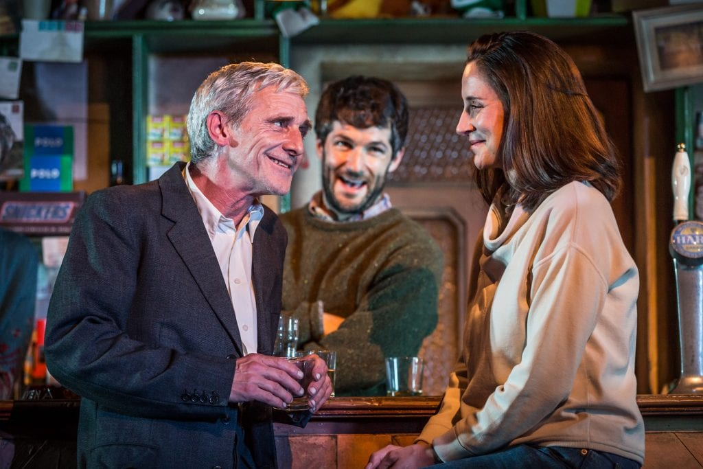 Sean Murray (Jack), Sam O'Mahony (Brendan) & Natalie Radmall-Quirke (Valerie) - The Weir - Photography by Marc Brenner